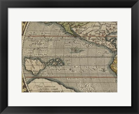 Framed Antique World Map Grid IV Print
