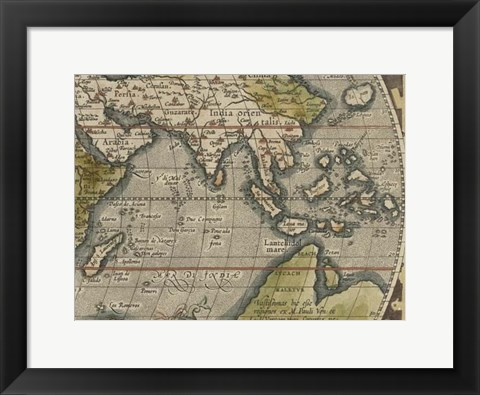 Framed Antique World Map Grid VI Print