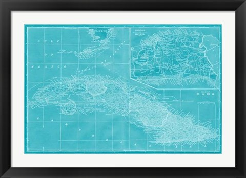 Framed Map of Cuba in Aqua Print