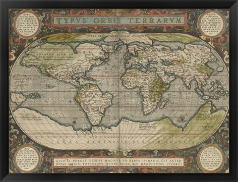 Framed Antique World Map 36x48 Print