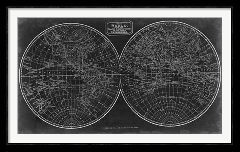 Framed Blueprint of the World in Hemispheres Print