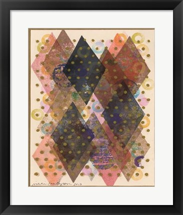 Framed Inked Triangles I Print