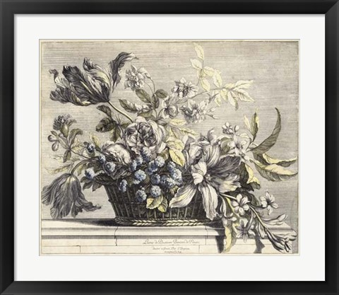 Framed Vintage Basket of Flowers I Print