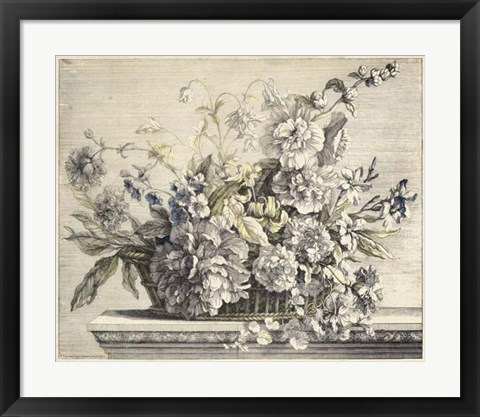 Framed Vintage Basket of Flowers II Print