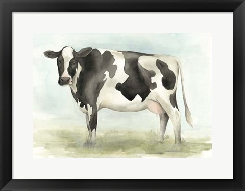 Framed Watercolor Cow II Print