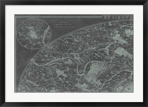 Framed Map of Paris Grid I Print