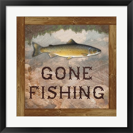 Framed Gone Fishing Salmon Sign Print