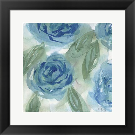 Framed Blue Green Roses I Print