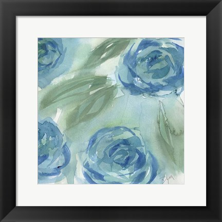 Framed Blue Green Roses II Print