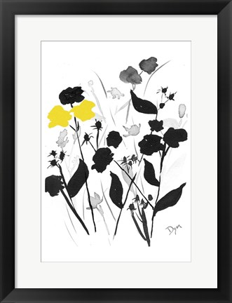 Framed Yellow Silouette 2 Print