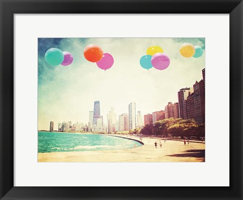 Framed Chicago Balloons Over the City Print