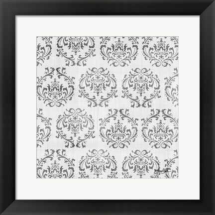 Framed Charcoal Damask 1 Print