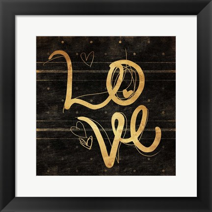 Framed Love Gold Print