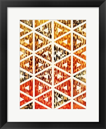 Framed Triangular Animals Bright Print