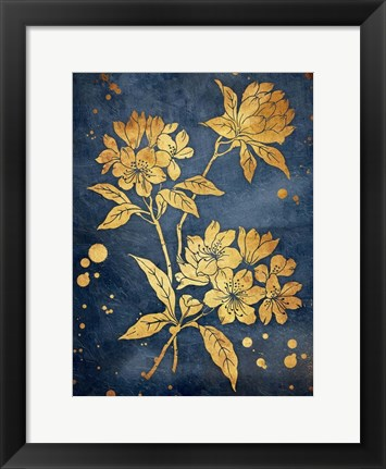 Framed Floral Golden Blues Print