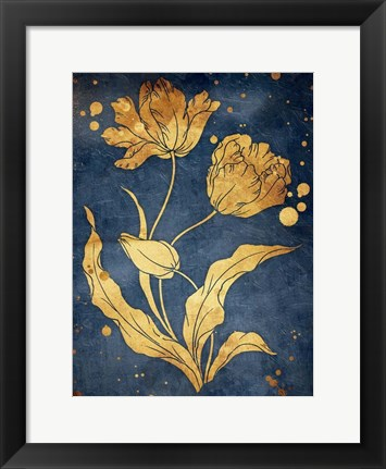 Framed Floral Golden Blues Mate Print