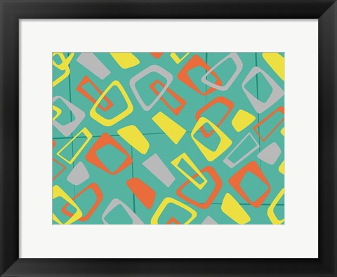 Framed Retro Blocks Mate Print