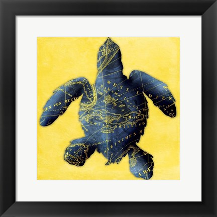 Framed Map Turtle Y Indigo Print