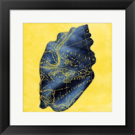 Framed Map Shell Y Indigo Print