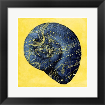 Framed Map Shel l2 Y Indigo Print