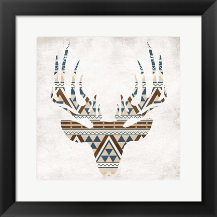 Framed Aztec Deer No Background Print