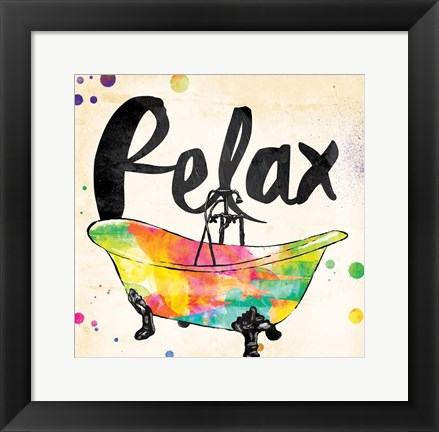 Framed Relax Colorful Bath Print