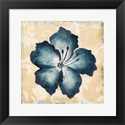 Framed Blue Flower Mate Print