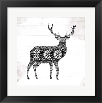 Framed Deer Patterns Print