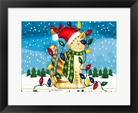 Framed Christmas Cat Print