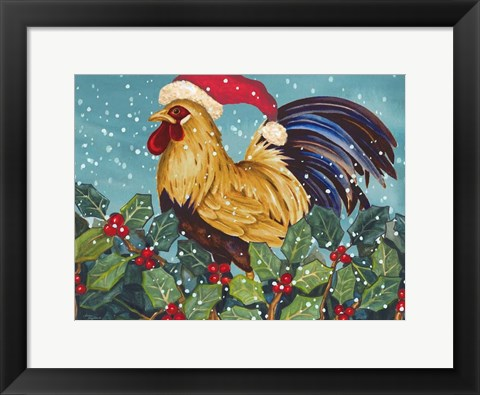 Framed Mr Christmas Rooster Print
