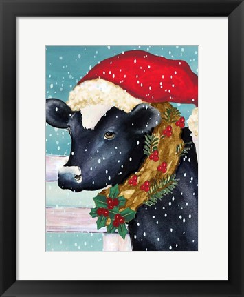 Framed Christmas Cow Vertical Print