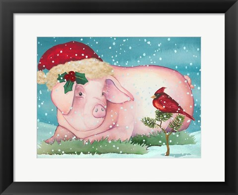 Framed Christmas Pig And Friend Print