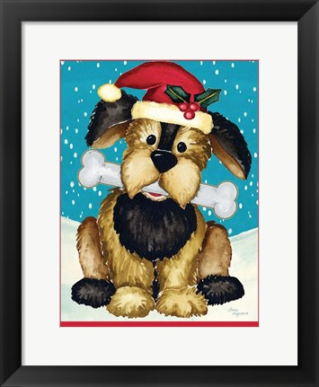 Framed Christmas Puppy Print