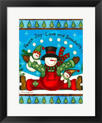 Framed Love And Snowballs Print