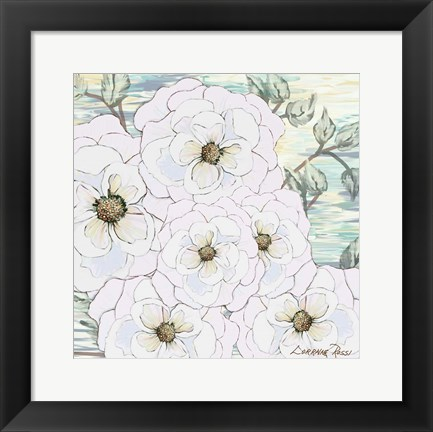 Framed White Water Flowers 1 Print