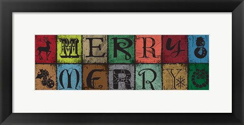 Framed Christmas Woodblock Letters 3 Print