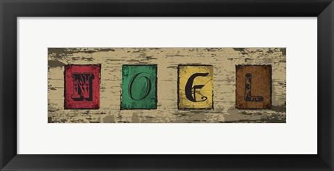 Framed Christmas Woodblock Letters 4 Print