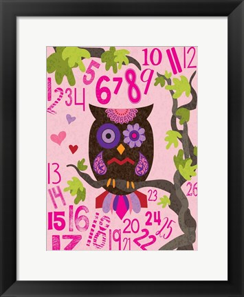Framed Owl Set Numlet Pinks 2 Print