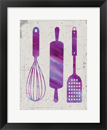 Framed Kitchen Watercolor Brights Ragged 05 Print