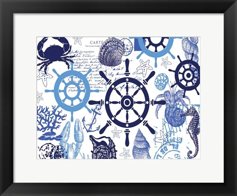 Framed Nautical Set Blues 2 Print