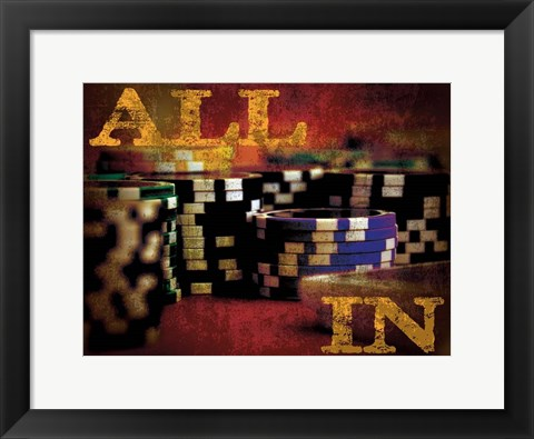 Framed All In Casino Grunge 4 Print