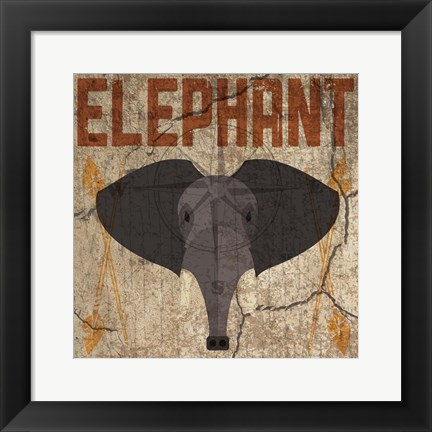 Framed Safari Set 3 Elephant Print