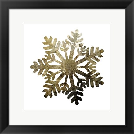Framed Glimmer Snowflakes 1 Print