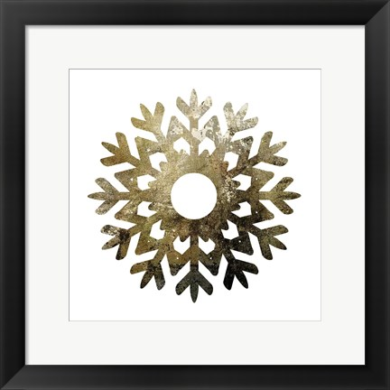 Framed Glimmer Snowflakes 3 Print