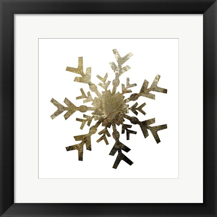 Framed Glimmer Snowflakes 4 Print