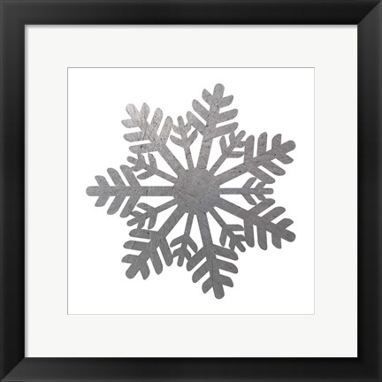 Framed Silver Snowflakes 1 Print