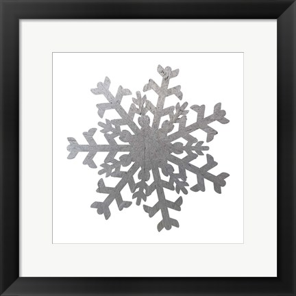 Framed Silver Snowflakes 2 Print