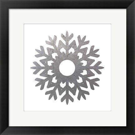 Framed Silver Snowflakes 3 Print