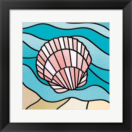 Framed Seashell Stained Glass Print