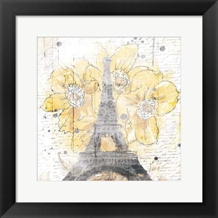 Framed Eiffel Bloom Yellow Print